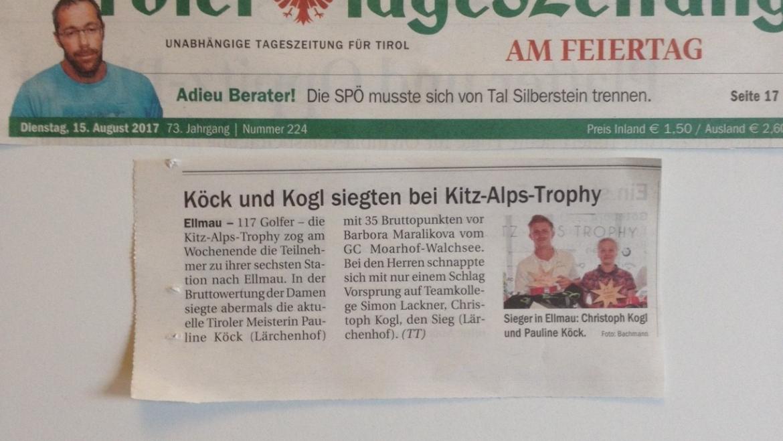 PRESSEMELDUNG Tiroler Tageszeitung 6. Station Ellmau