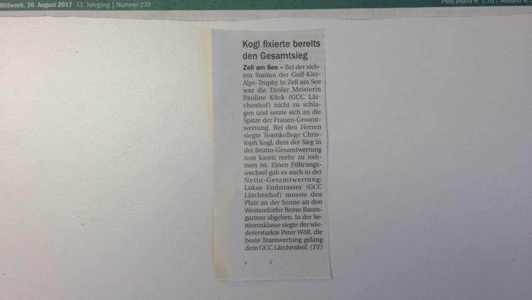 PRESSEMELDUNG Tiroler Tageszeitung 7. Station GC Zell am See-Kaprun