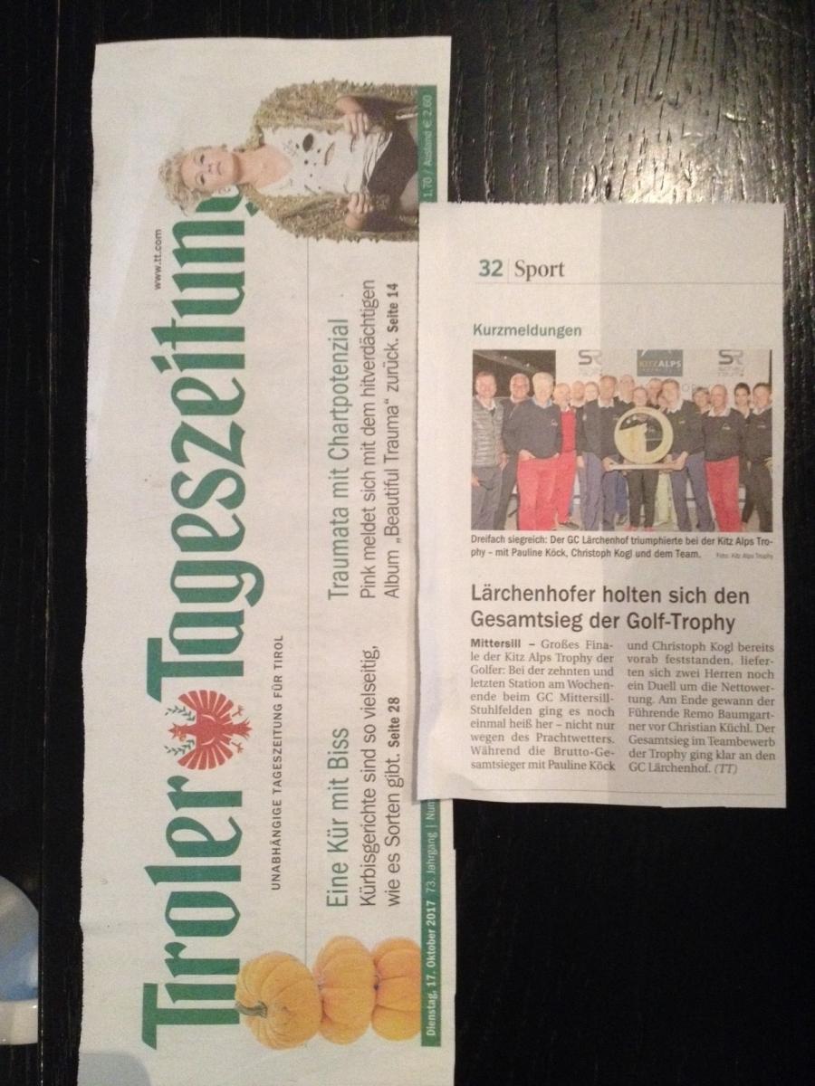 PRESSEMELDUNG Tiroler Tageszeitung – Lärchenhofer dominieren KITZ ALPS TROPHY 2017