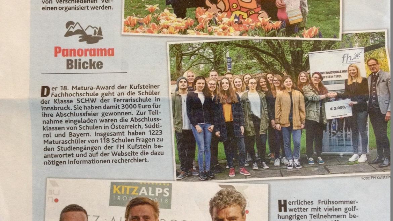 Pressemitteilung Kronen Zeitung vom Turnier beim GC Walchsee/Moarhof