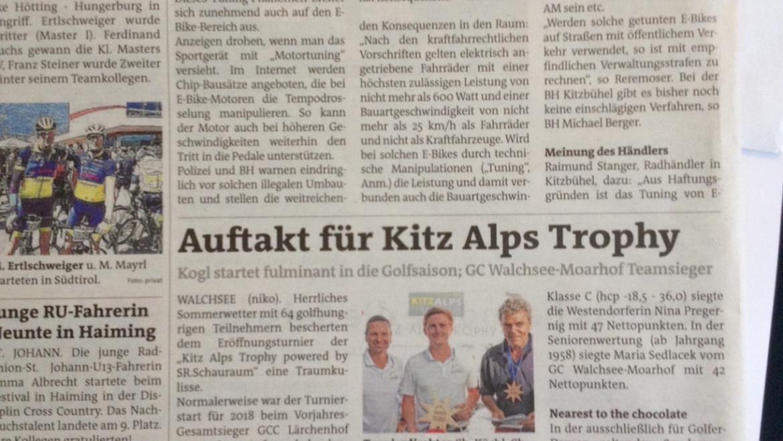 Pressemitteilung Bezirksblätter Turnier GC Walchsee/Moarhof