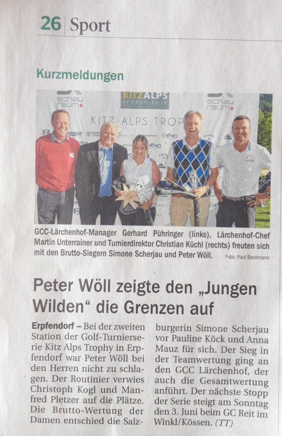 PRESSEMELDUNG Tiroler Tageszeitung 2. Station GCC Lärchenhof