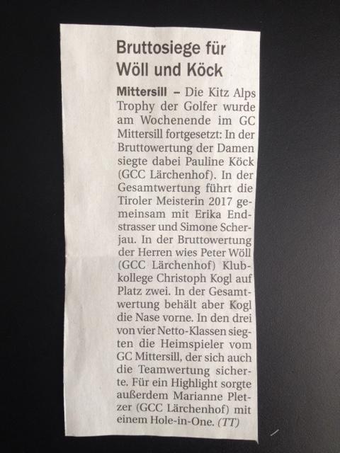 Pressemitteilung Tiroler Tageszeitung GC Mittersill