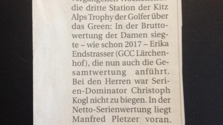 PRESSEMELDUNG Tiroler Tageszeitung GC Reit im Winkl