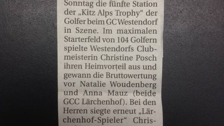 PRESSEMELDUNG 5. Station GC Westendorf Tiroler Tageszeitung