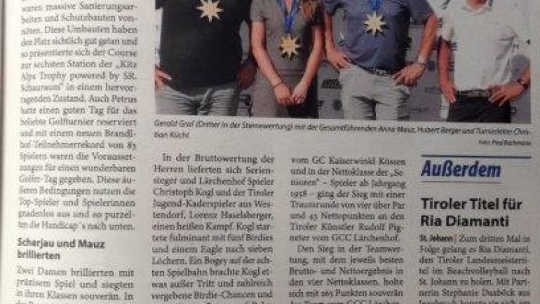 Pressemeldung 6. Station GC Gut Brandlhof Kitzbüheler Anzeiger