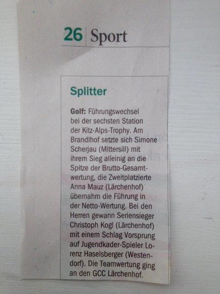 Pressemeldung 6. Station GC Gut Brandlhof – Tiroler Tageszeitung