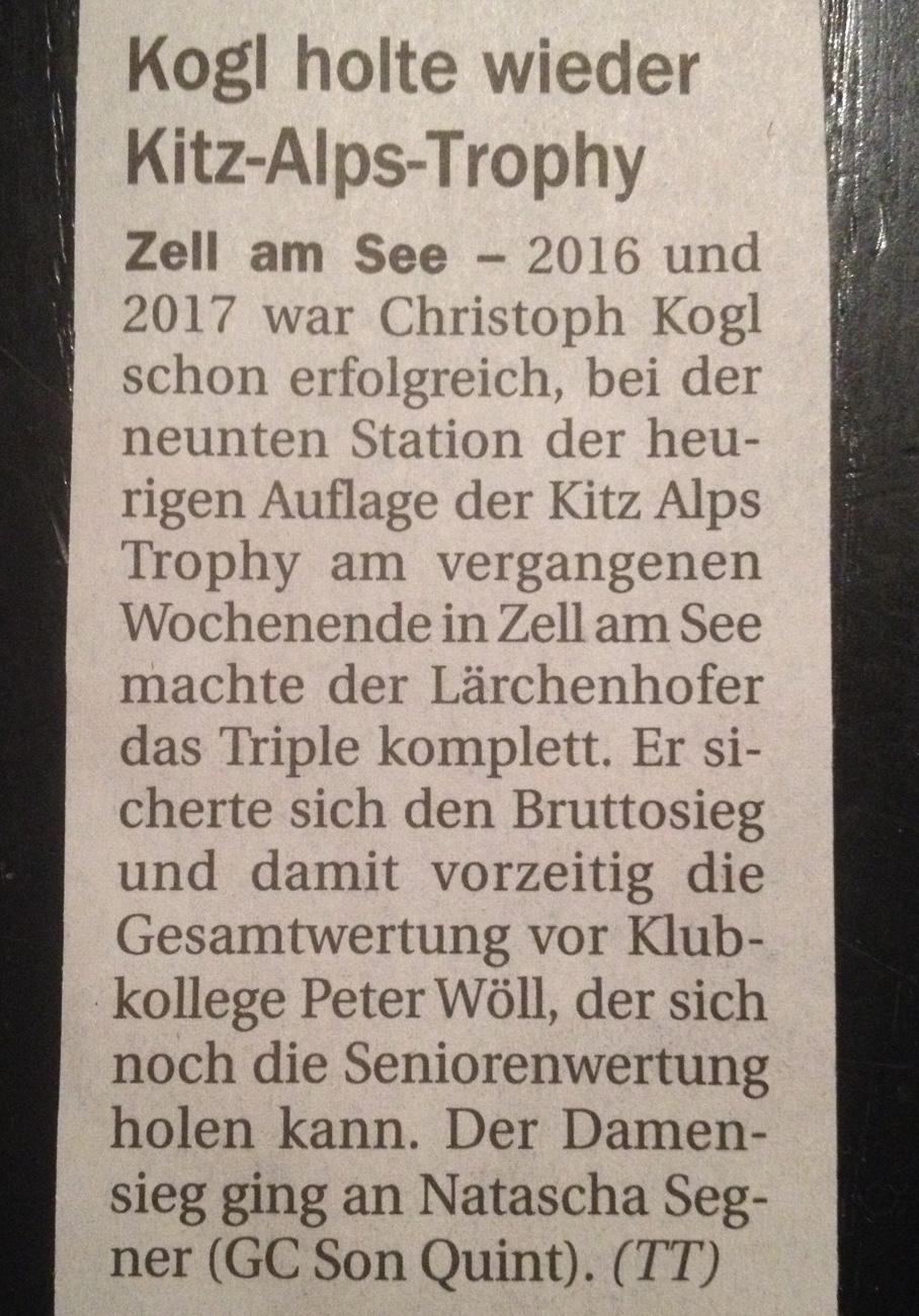 Pressemeldung TIROLER TAGESZEITUNG GC Zell am See