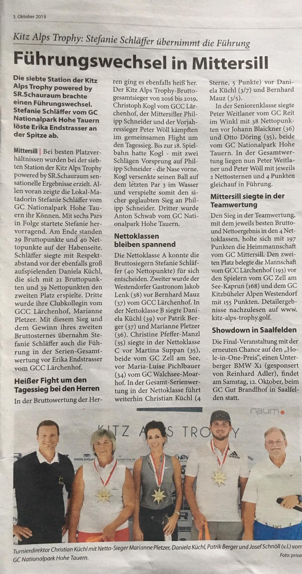 Pressemeldung Kitzbüheler Anzeiger – GC Nationalpark Hohe Tauern