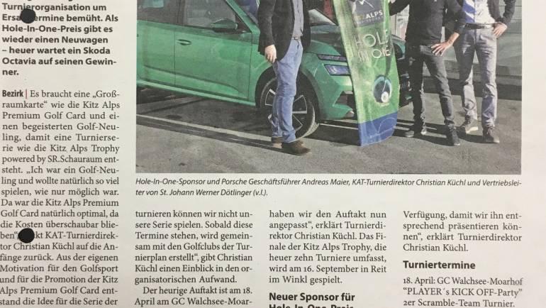 """Porsche St. Johann & Golfversicherung Reinhard Adler """"sponsern"""" HOLE IN ONE – Preis!"""